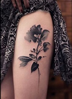 Black and Gray Watercolor Floral Tattoo. 30+ Beautiful Flower Tattoo Designs.