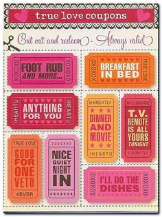 CUTE!!! Ideas for DIY Valentine's Day Gift - Printable Romantic Coupons for Him…