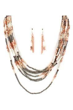 Long Bia Necklace in Copper Layers #layeredbeadednecklace