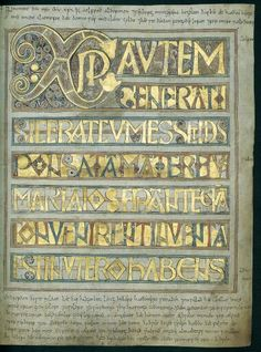 """booksnbuildings: """" The Stockholm Codex Aureus This mid-eighth century illuminated manuscript was looted by a Viking army but later bought back by an English ealdorman called Aelfred, """"by pure gold"""". The little notes above and below the main, latin. Medieval Books, Medieval World, Medieval Manuscript, Medieval Art, Book Of Kells, Illuminated Letters, Illuminated Manuscript, Canterbury, Latin Text"""