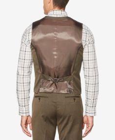 Perry Ellis Men's Raindrum Vest - Brown 2XL
