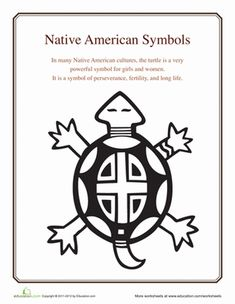 Fourth Grade Social Studies Worksheets: Native American Symbols: Turtle Native American Patterns, Native American Symbols, Native American Design, American Indian Art, Native American Indians, Native Americans, American History, Shawnee Indians, American Women