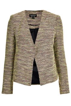 Boucle Collarless Jacket - Jackets - Clothing - Topshop