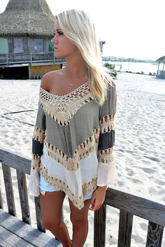 Weekend Waves Multi Color Taupe Crochet Top – Amazing Lace