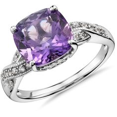 Blue Nile Amethyst and White Sapphire Ring ($165) ❤ liked on Polyvore featuring jewelry, rings, white sapphire rings, amethyst rings, twist ring, cushion cut ring and white sapphire jewelry
