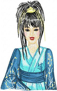 Geisha in Blue machine embroidery design. Machine embroidery design. www.embroideres.com