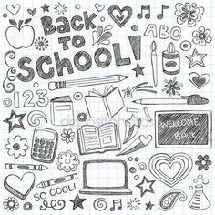 Torna a scuola abbozzato doodles vector design elementi — Illustrazione stock #11543679