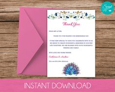 """PEACOCK Thank You Card Template 