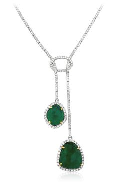 Yael Designs Serendipity Collection - Rose-cut emerald and diamond necklace