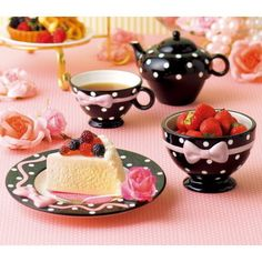 Cute black and white, tied with pink tea set