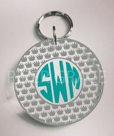 Personalized Acrylic Round Keychain with Crown Circle Monogram Outline by PiperGraceGifts on Etsy