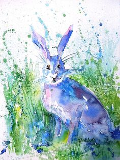 Watercolour painting of a wild Hare. . Hares are among my favourite wild creatures of the Irish countryside Throughout the world,  the mysterious hare is embedded in ancestral folk myths. Original € 200 framed. Prints & cards available