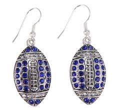 University of Kentucky Wildcats Blue Crystal Football Dangle Earrings