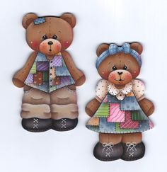 This is a painting pattern that I have created for one of my designs:Patchwork Bears ornaments or fridge magnets. This e-pattern includes a