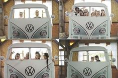 Unique volkswagen van frame backdrop at this wedding booth! #rentmyphotobooth Nice photo via #lapisdenoiva
