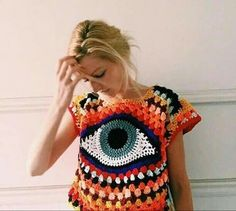 Bringing you more eyes made of string Crochet top, change eye to flower Outstanding Summer Fresh Look. Lovely Colors and Shape. - Summer Fashion New Trends Woehoew what a gorgous top! Love the crochet and not to mention the evil eye👁👁👁. Pull Crochet, Mode Crochet, Knit Crochet, Hand Crochet, Crochet Cross, Crochet Granny, Couture Main, Crochet Blouse, Crochet Top Outfit