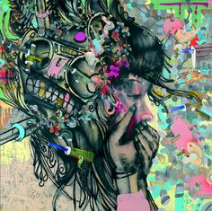 David Choe is AMAZING!!!! I have all 3 of the prints in this series where he depicts See no evil, hear no evil,  Speak no evil (pictured)