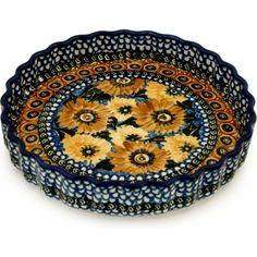 Polish Pottery 10-inch Fluted Pie Dish | Boleslawiec Stoneware | Polmedia H6836A