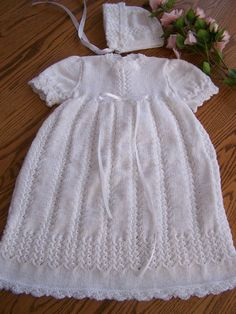 New hand knit Christening Gown and Bonnet Set by hookinontheside, $90.00