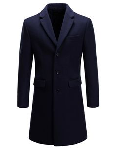 0a8e5e676c69 (DMC15) TheLees Mens Slim Fit Wool Blend Notched Chesterfield Single  Overcoat. KosztümkabátKabátok