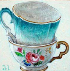 Andrea Letterie- gestapelde theekopjes- teacups