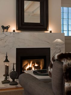 Moutarde Design - living rooms - monochromatic living room, marble fireplace surround, seamless marble