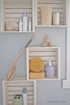 I want to make this!  DIY Furniture Plan from Ana-White.com  Little crates made from scraps hung on the wall to create a little extra storage in tight bathroom spaces.