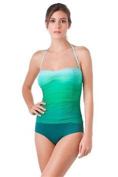 3fbca7dfbb2f Carmen Marc Valvo Sea Shade One Piece Bandeau bathing suit in Everglade,  Vintage style bathing