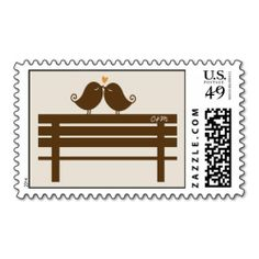 Love birds on bench monogram wedding postage stamp.