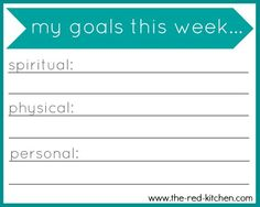 My Goals This Week (free printable!)  -- Printable note cards in 2 styles and 12 fun colors to help you focus on your weekly goals--    www.the-red-kitchen.com