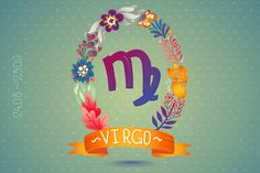 Zodiac sign VIRGO in floral wreath by Lara Cold illustrations  on Creative Market