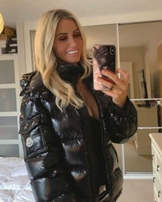 Leather Skirt, Leather Jacket, Shiny Leggings, Puffy Jacket, Down Coat, Moncler, Winter Outfits, Jackets For Women, Womens Fashion