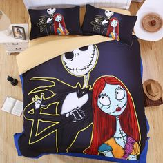 Nightmare Before Christmas Skellington Bedding Comforter & Sheet Set, King Size, 4 Pieces -- Awesome products selected by Anna Churchill