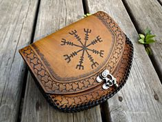 Viking Leather Belt Pouch Helm of Awe by BeastmanCaravan on Etsy