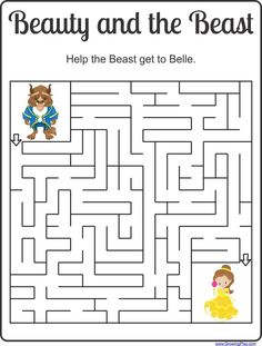 Beauty and the Beast Maze Freebie Growing Play beauty and the beast party Beauty And The Beast Crafts, Beauty And The Beast Party, Beauty Beast, Learning Activities, Activities For Kids, Disney Activities, Beast Games, Mazes For Kids, Maze Games For Kids