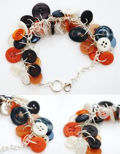 Button bracelet in navy, white and peachy orange shades
