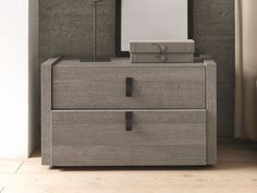 Ash bedside table with drawers Esprit Collection by SMA Mobili