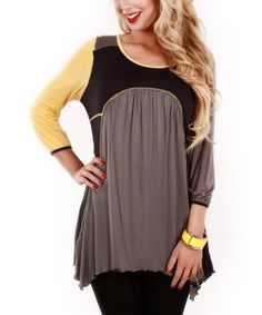 Look what I found on #zulily! Gray & Yellow Color Block Three-Quarter Sleeve Tunic by Jasmine #zulilyfinds