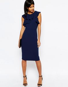 Image 4 of ASOS Pencil Dress With Ruffle Detail