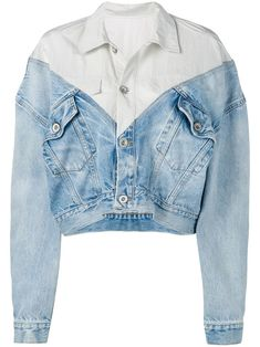 UNRAVEL PROJECT layered denim jacketBlue cotton layered denim jacket from Unravel featuring a front button fastening, a Denim Fashion, Look Fashion, Fashion Outfits, Fashion Design, Fashion Hats, Blue Fashion, Modest Fashion, Fashion Watches, Diy Clothes