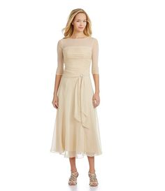 Beige tea length dress with illusion top
