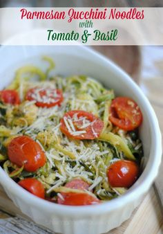 """Parmesan zucchini noodles- """"zoodles """" with tomato and basil. Great way to use up some of the 400 lbs of zucchini from the garden! zucchinizoodles zooldesrecipe"""