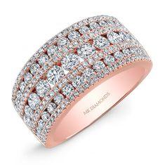 18k Rose Gold Wide Diamond Band