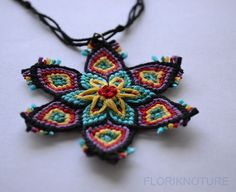 Macrame Flower Pendant.