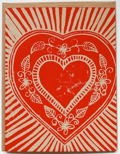 I Love Handmade lino printed card