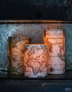 Antique World Map Decoupaged Candles {With Free Printable}