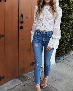 Sexy Fashion Lace Long Sleeve Shirt – You can find Lace tops and more on our website. Urban Fashion, Look Fashion, Fashion Outfits, Womens Fashion, Dress Fashion, Fashion Trends, Cheap Fashion, Fall Fashion, High Fashion