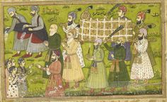 An abridged version of Khusrau u Shirin by Nizami. Sixty-three miniatures. - caption: 'Buzurjumid leading the funeral procession accompanied by water-sprinklers and men giving coins to bystanders.' | by The British Library