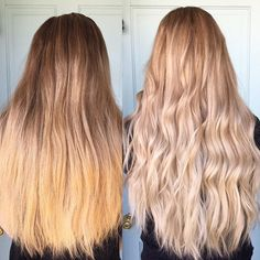 Okay, but can we talk about this?  this cute girl wanted brighter, lighter and blonder hair! And boy oh boy did she have hair. I think in my 8 years of doing hair this was the thickest hair I've ever done. It was so thick and beautiful I had hair envy from the start but when it was all done I was dying! Look at that hair! Formula: I softened her base using @redken5thave 7N and 6T and then balayaged using @guy_tang @pravana lightener with @olaplex using @framarint  brushes for that per...