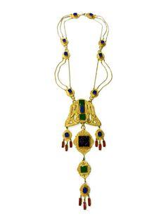 Rare Vintage Kenneth Jay Lane Large Jewelled Tribal Necklace